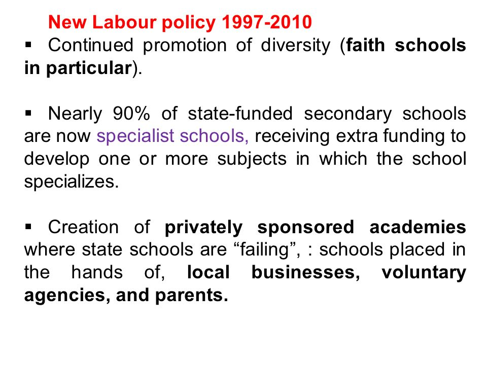 New Labour policy 1997-2010 Continued promotion of diversity (faith schools in particular).