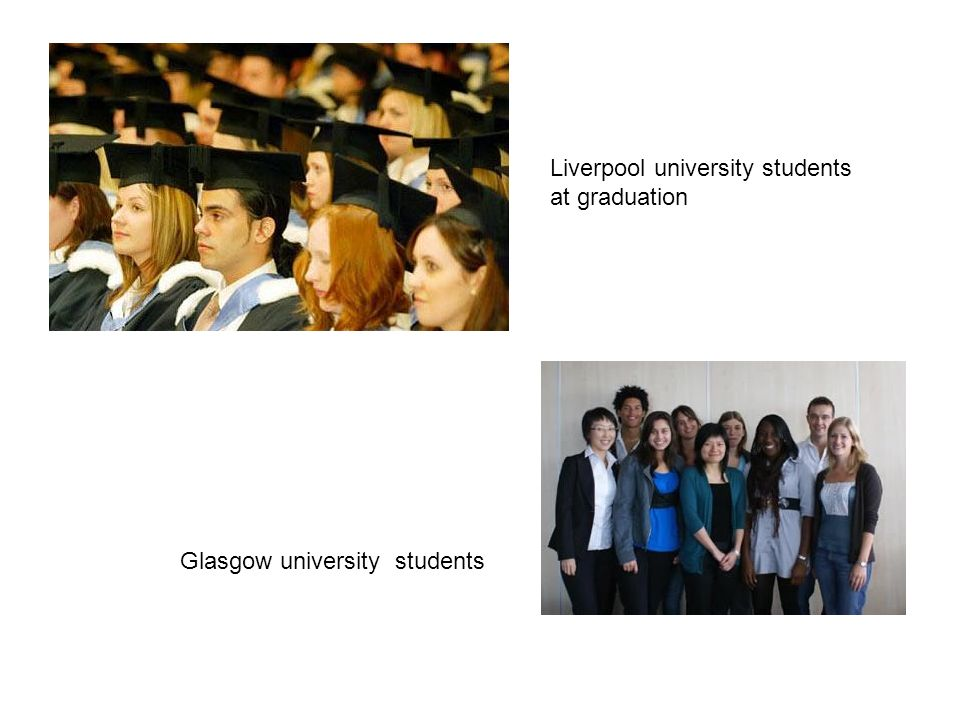 Liverpool university students at graduation Glasgow university students