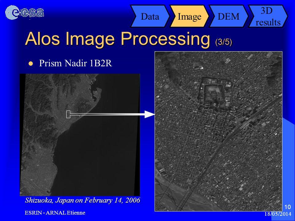 18/05/2014 ESRIN - ARNAL Etienne 10 Prism Nadir 1B2R DataImageDEM 3D results Shizuoka, Japan on February 14, 2006 Alos Image Processing (3/5)
