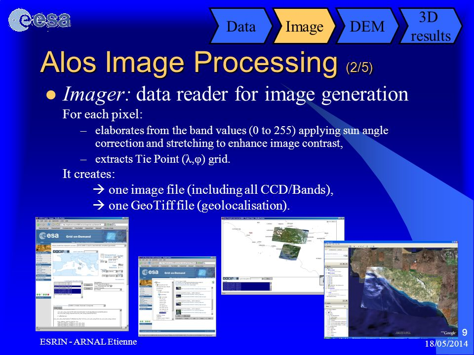 18/05/2014 ESRIN - ARNAL Etienne 9 Alos Image Processing (2/5) Imager: data reader for image generation For each pixel: –elaborates from the band valu