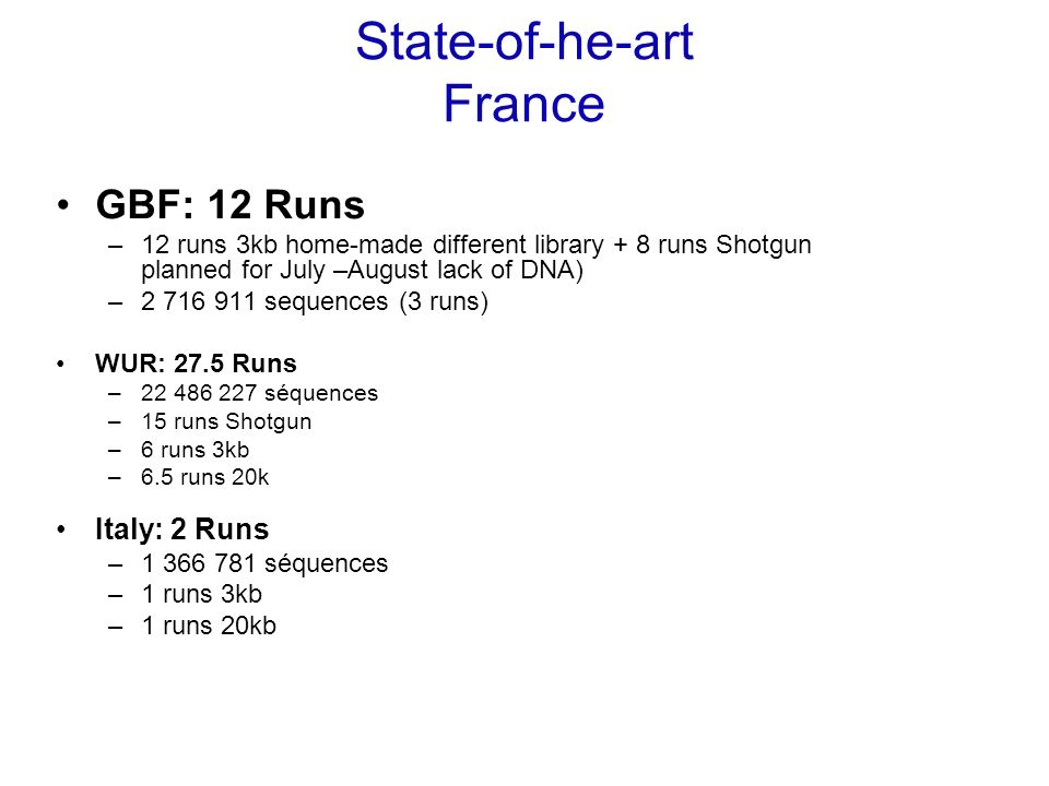 State-of-he-art France GBF: 12 Runs –12 runs 3kb home-made different library + 8 runs Shotgun planned for July –August lack of DNA) –2 716 911 sequences (3 runs) WUR: 27.5 Runs –22 486 227 séquences –15 runs Shotgun –6 runs 3kb –6.5 runs 20k Italy: 2 Runs –1 366 781 séquences –1 runs 3kb –1 runs 20kb