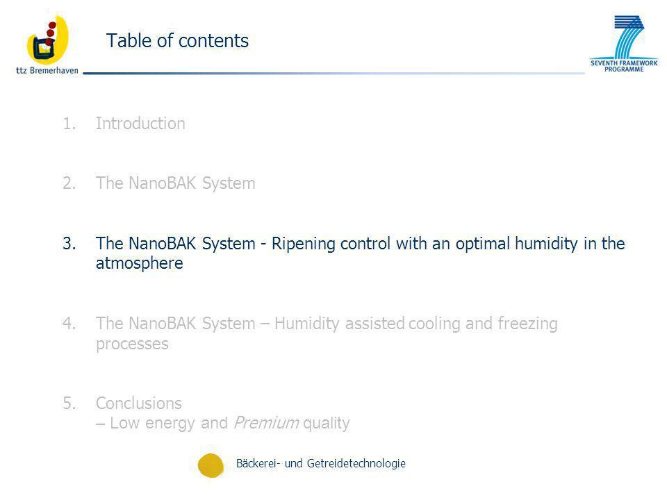 Bäckerei- und Getreidetechnologie Table of contents 1.Introduction 2.The NanoBAK System 3.The NanoBAK System - Ripening control with an optimal humidi