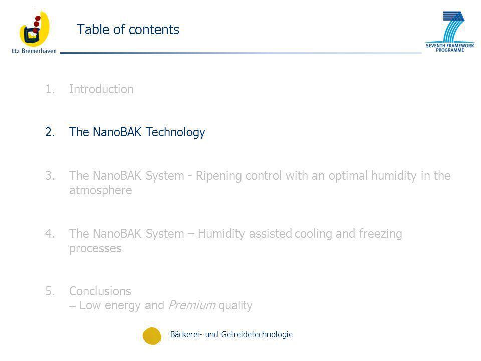 Bäckerei- und Getreidetechnologie Table of contents 1.Introduction 2.The NanoBAK Technology 3.The NanoBAK System - Ripening control with an optimal hu
