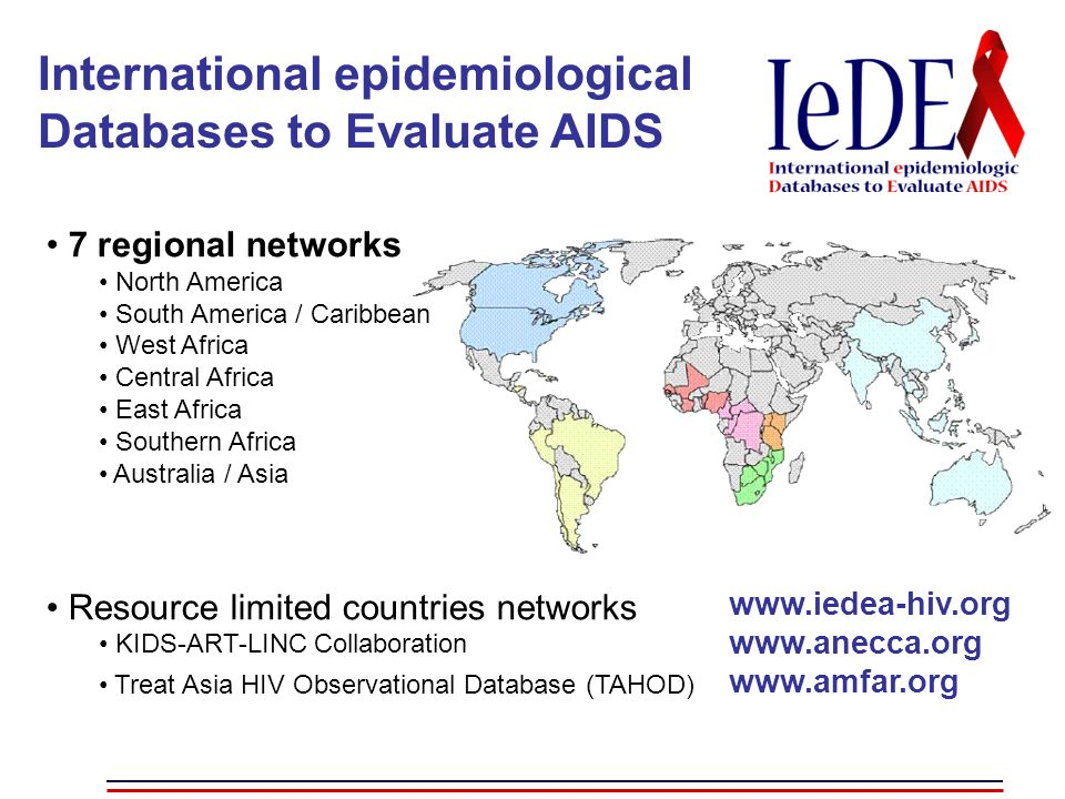 International epidemiological Databases to Evaluate AIDS 7 regional networks North America South America / Caribbean West Africa Central Africa East Africa Southern Africa Australia / Asia Resource limited countries networks KIDS-ART-LINC Collaboration Treat Asia HIV Observational Database (TAHOD) www.iedea-hiv.org www.anecca.org www.amfar.org
