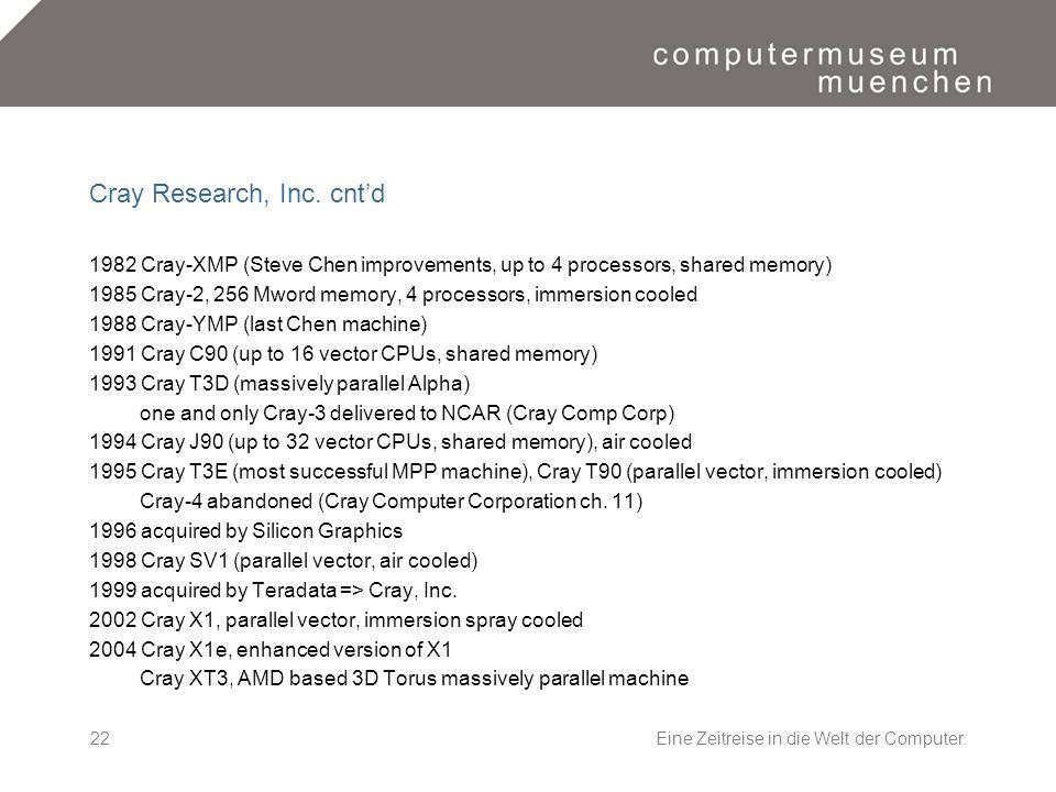 Eine Zeitreise in die Welt der Computer.22 Cray Research, Inc. cntd 1982 Cray-XMP (Steve Chen improvements, up to 4 processors, shared memory) 1985 Cr