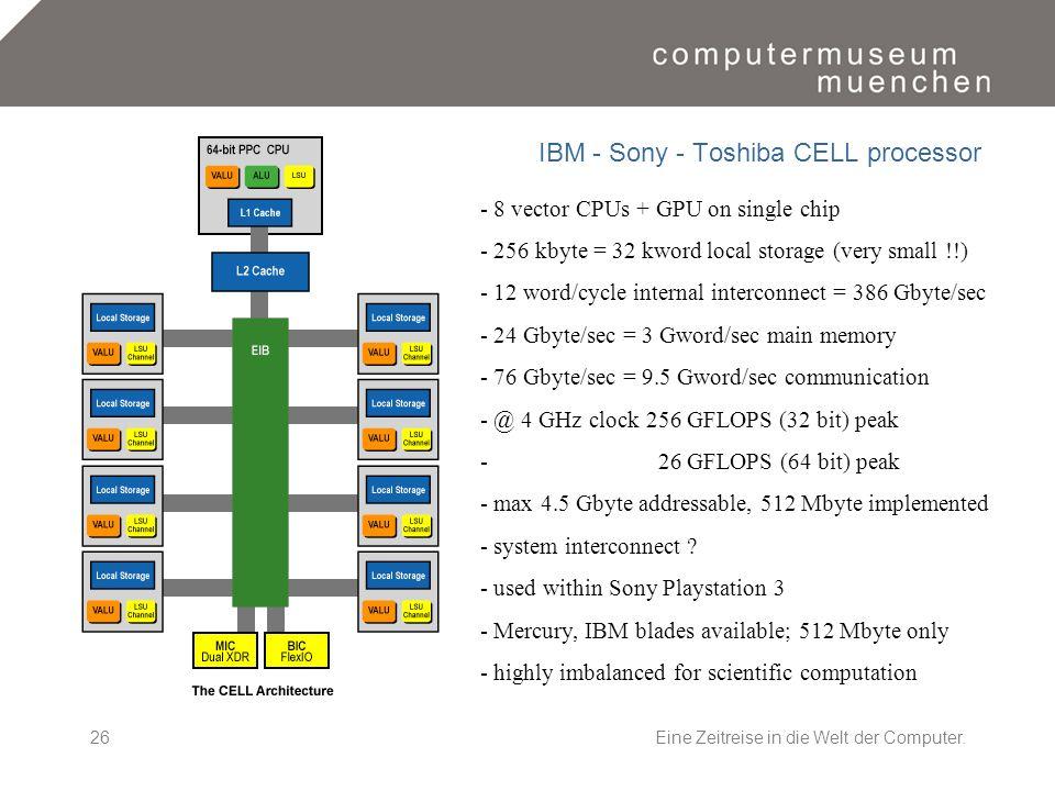 Eine Zeitreise in die Welt der Computer.26 IBM - Sony - Toshiba CELL processor - 8 vector CPUs + GPU on single chip - 256 kbyte = 32 kword local stora