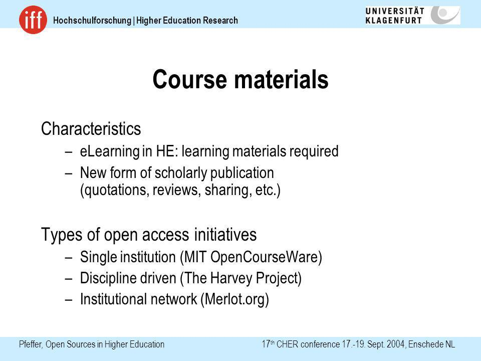 Hochschulforschung | Higher Education Research Pfeffer, Open Sources in Higher Education 17 th CHER conference 17.-19. Sept. 2004, Enschede NL Course