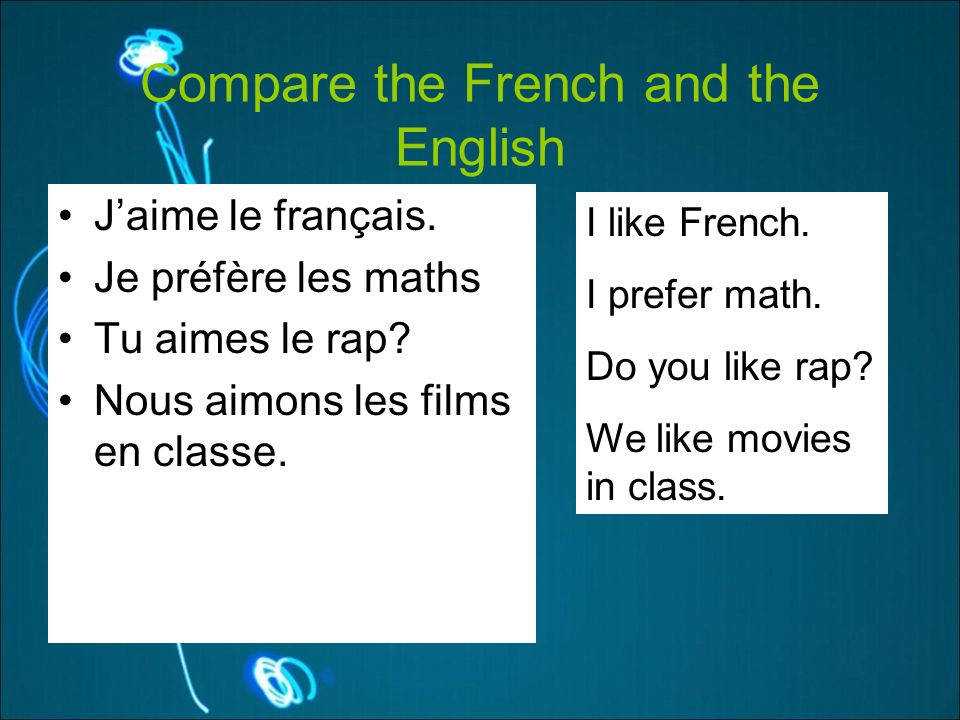 Compare the French and the English Jaime le français.