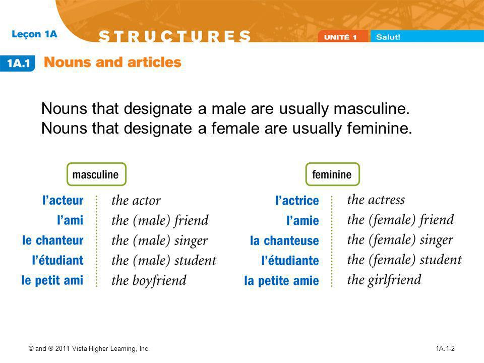 © and ® 2011 Vista Higher Learning, Inc.1A.1-2 Nouns that designate a male are usually masculine.