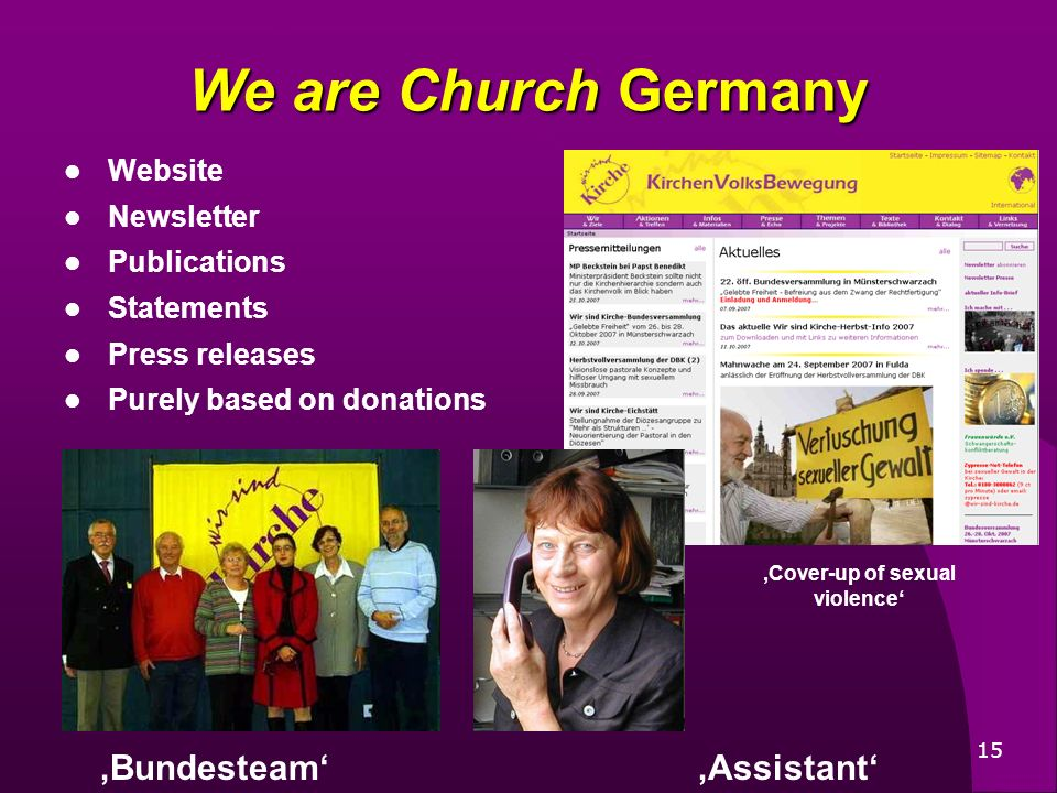 15 Website Newsletter Publications Statements Press releases Purely based on donations We are Church Germany BundesteamAssistant Cover-up of sexual vi