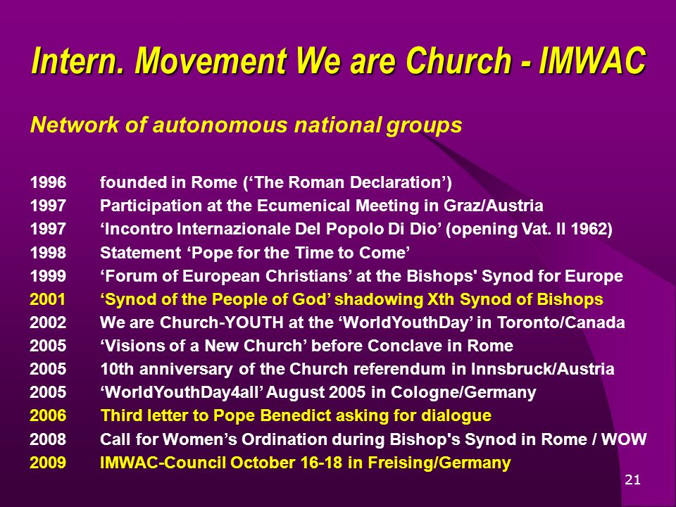 21 Network of autonomous national groups 1996founded in Rome (The Roman Declaration) 1997Participation at the Ecumenical Meeting in Graz/Austria 1997Incontro Internazionale Del Popolo Di Dio (opening Vat.
