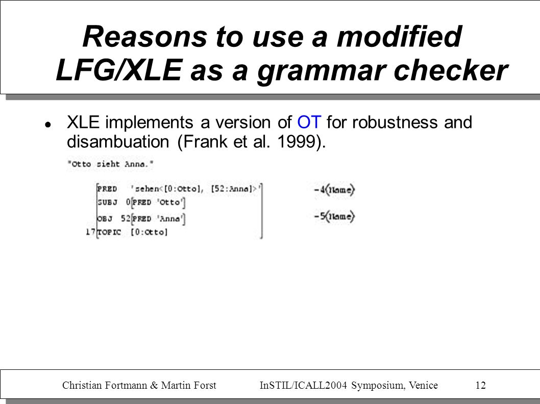 Christian Fortmann & Martin Forst InSTIL/ICALL2004 Symposium, Venice 12 Reasons to use a modified LFG/XLE as a grammar checker XLE implements a versio