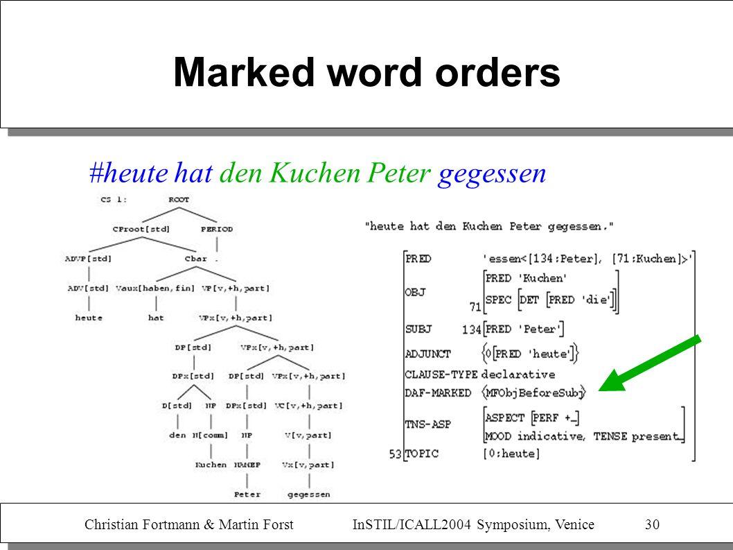 Christian Fortmann & Martin Forst InSTIL/ICALL2004 Symposium, Venice 30 Marked word orders #heute hat den Kuchen Peter gegessen