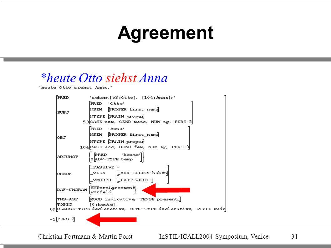 Christian Fortmann & Martin Forst InSTIL/ICALL2004 Symposium, Venice 31 Agreement *heute Otto siehst Anna