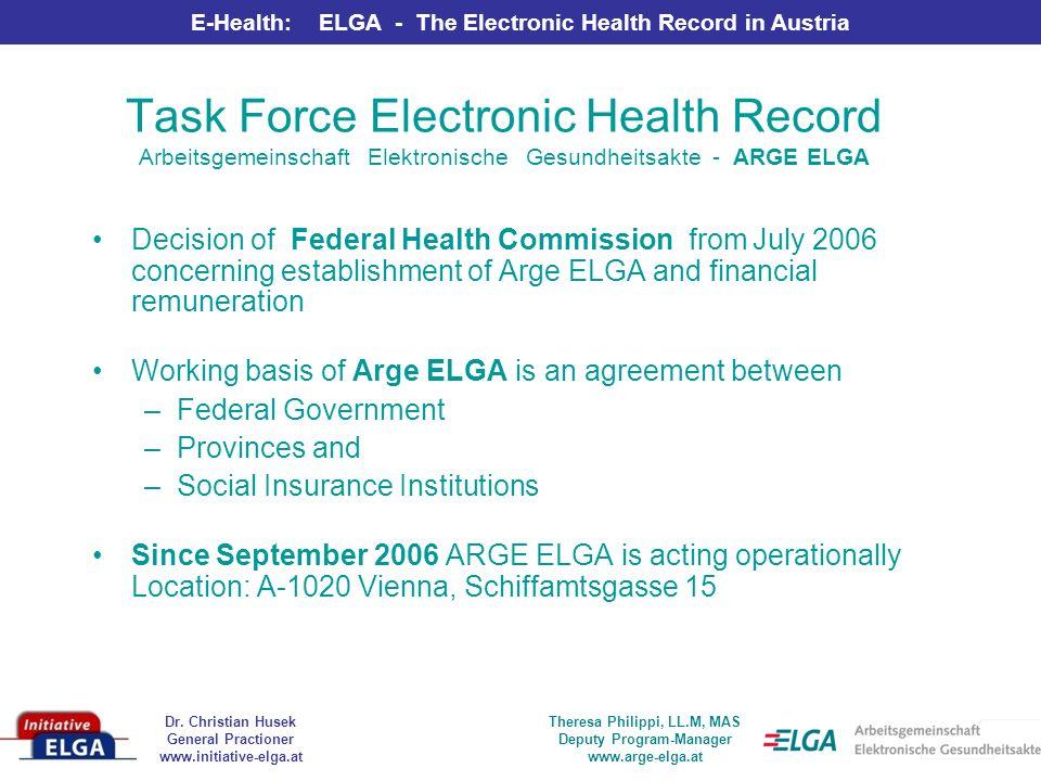 Dr. Christian Husek General Practioner www.initiative-elga.at E-Health: ELGA - The Electronic Health Record in Austria Theresa Philippi, LL.M, MAS Dep