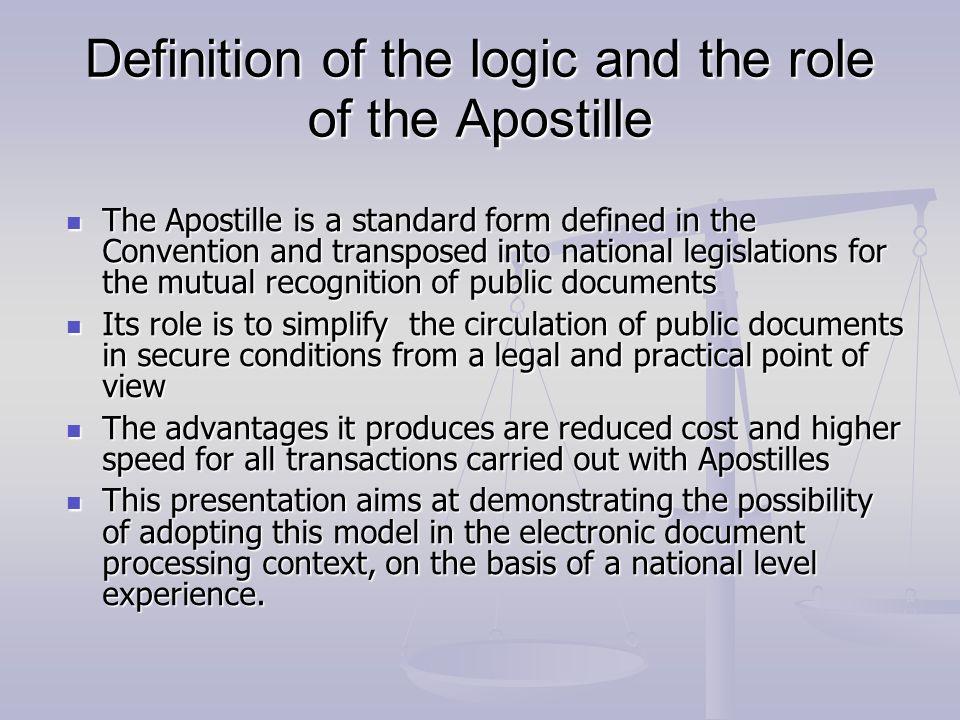 The content of XML envelope APOSTILLE APOSTILLE (Convention de La Haye du 5 octobre 1961) 1.