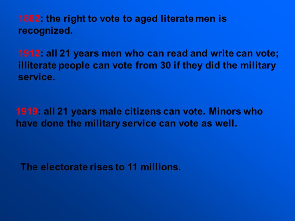 1882: the right to vote to aged literate men is recognized. 1912: all 21 years men who can read and write can vote; illiterate people can vote from 30