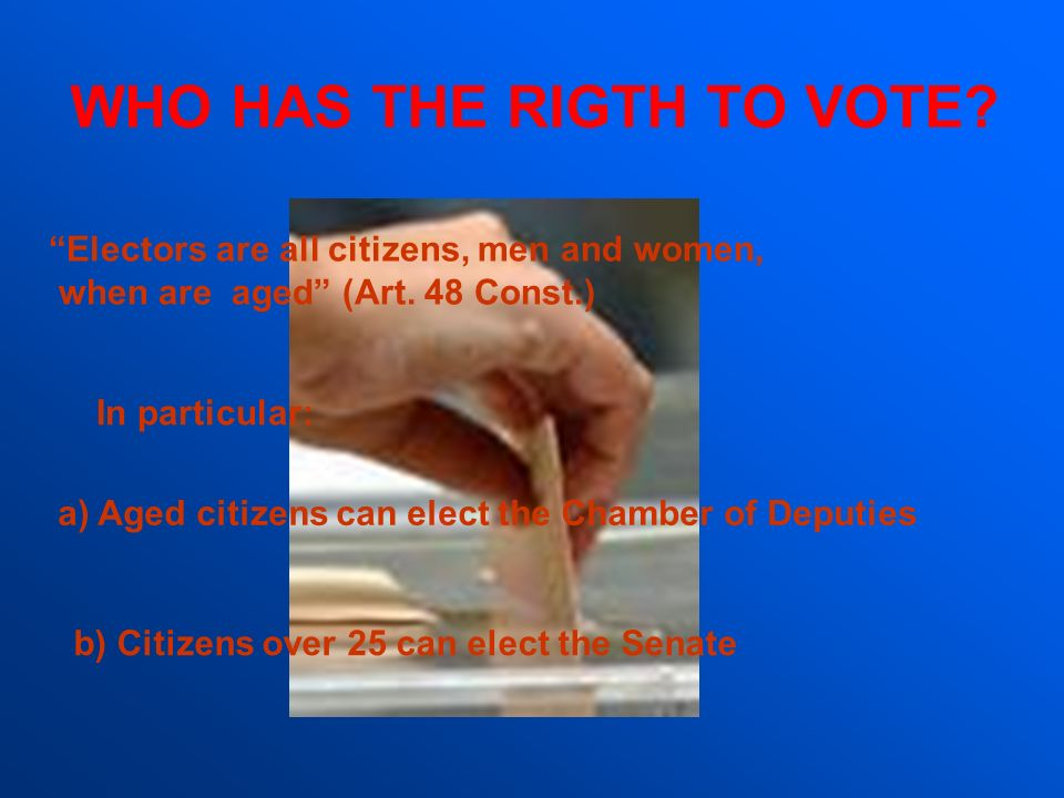 WHO HAS THE RIGTH TO VOTE? a)Aged citizens can elect the Chamber of Deputies b) Citizens over 25 can elect the Senate Electors are all citizens, men a