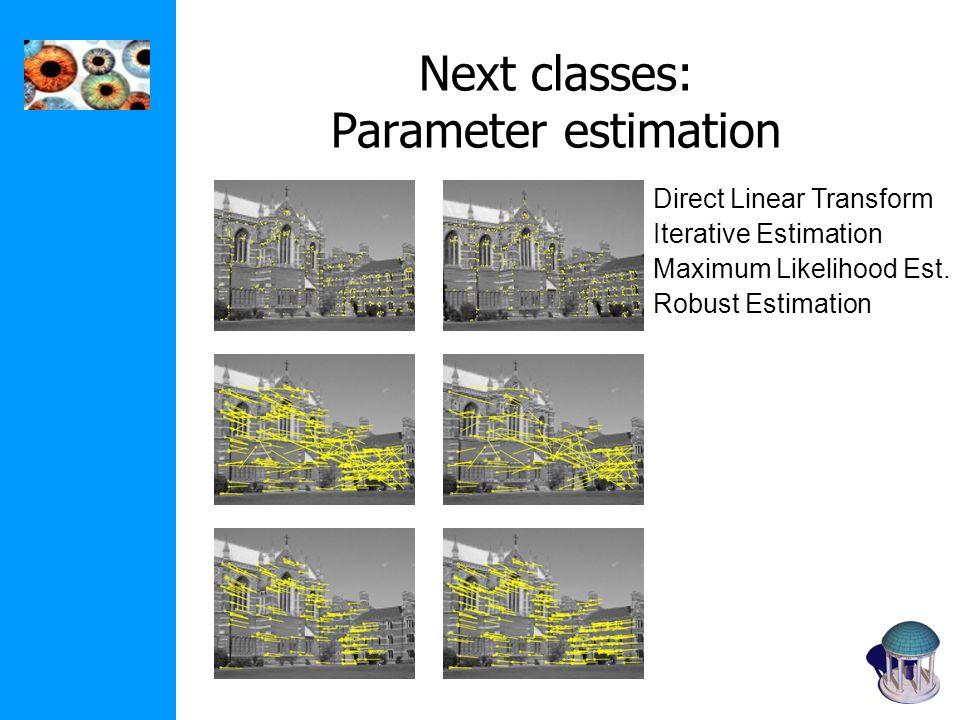 Next classes: Parameter estimation Direct Linear Transform Iterative Estimation Maximum Likelihood Est. Robust Estimation