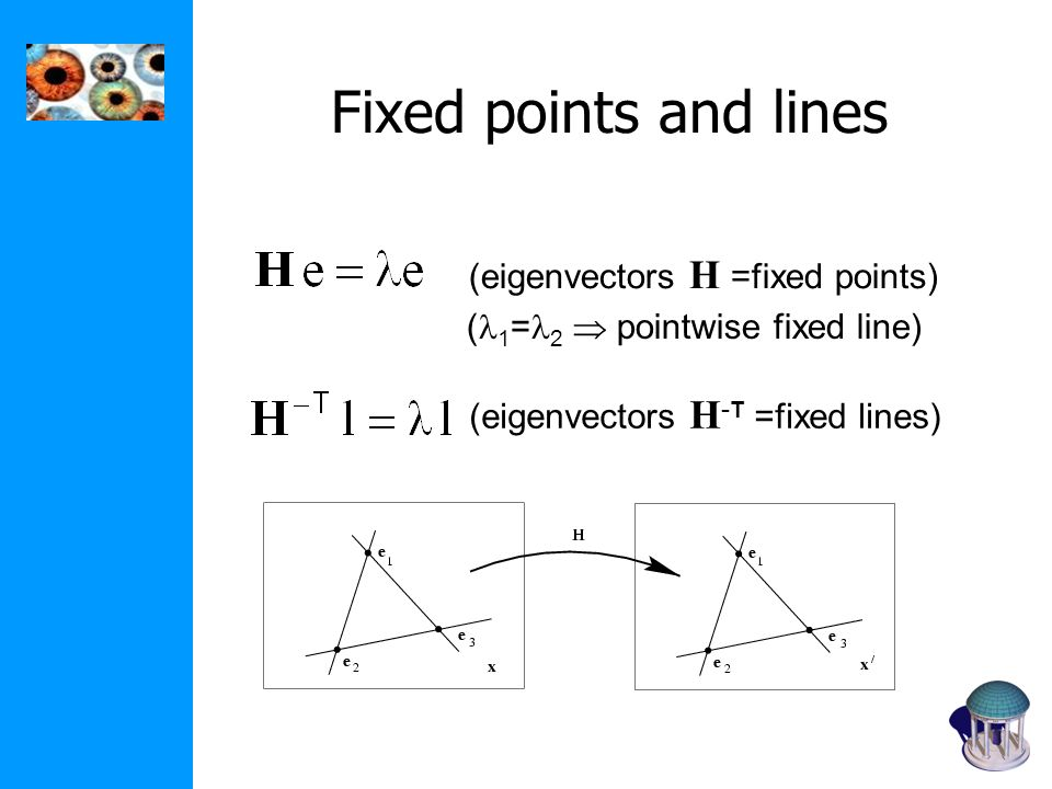 Fixed points and lines (eigenvectors H =fixed points) (eigenvectors H - T =fixed lines) ( 1 = 2 pointwise fixed line)