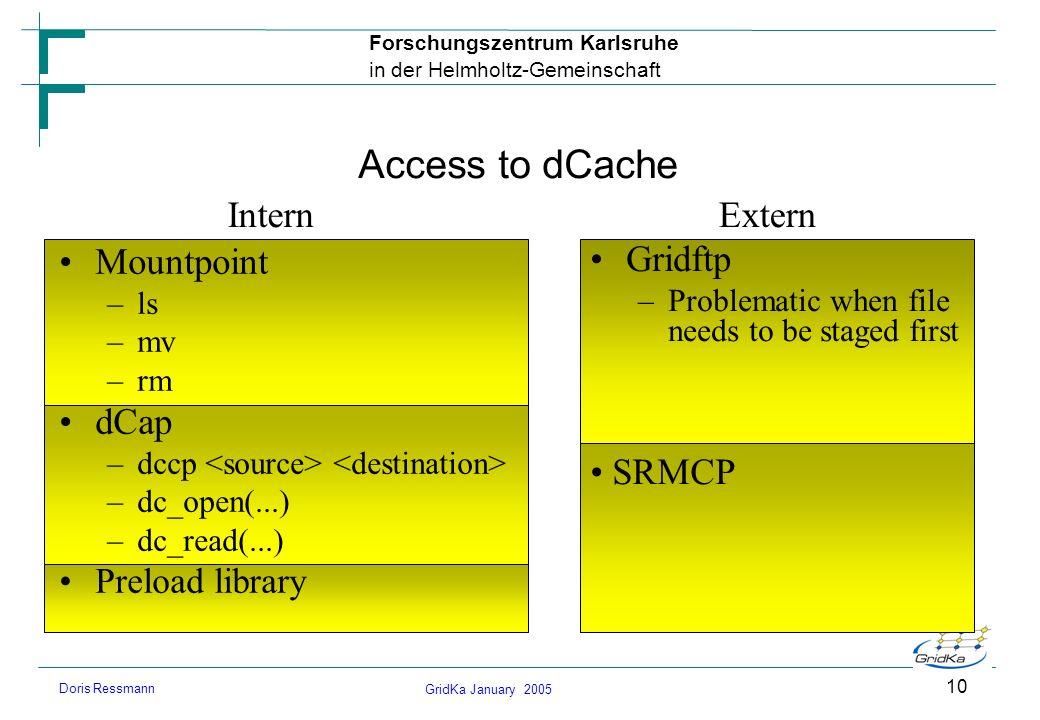 GridKa January 2005 Forschungszentrum Karlsruhe in der Helmholtz-Gemeinschaft Doris Ressmann 10 Access to dCache Mountpoint –ls –mv –rm dCap –dccp –dc