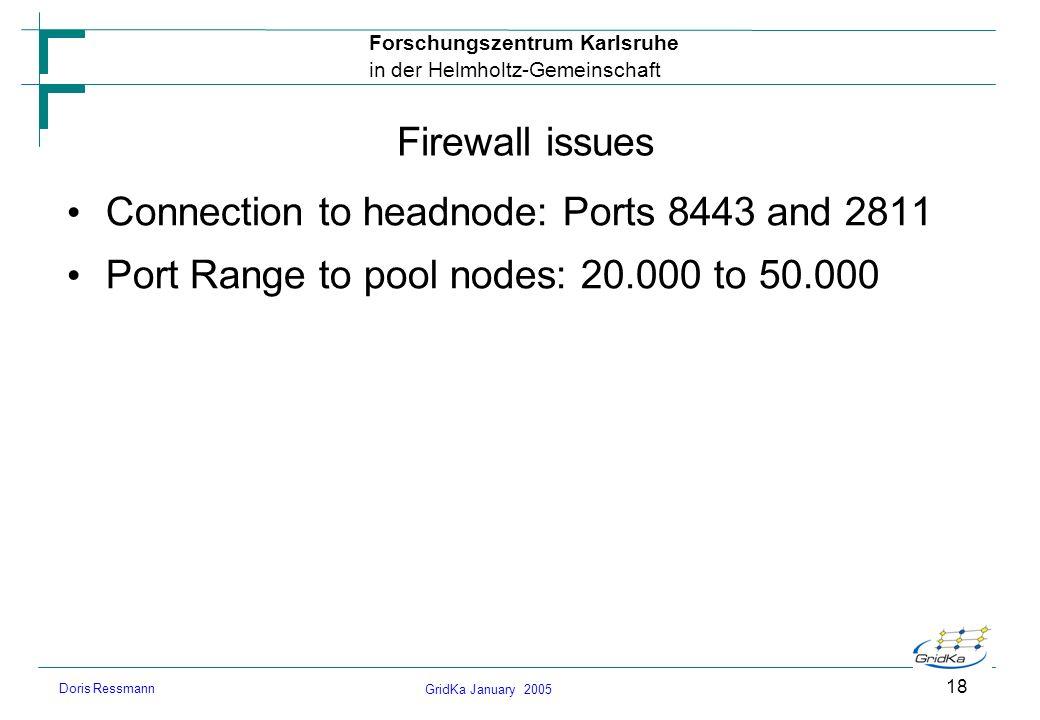 GridKa January 2005 Forschungszentrum Karlsruhe in der Helmholtz-Gemeinschaft Doris Ressmann 18 Firewall issues Connection to headnode: Ports 8443 and