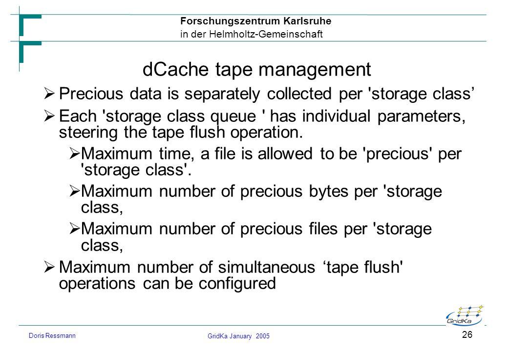 GridKa January 2005 Forschungszentrum Karlsruhe in der Helmholtz-Gemeinschaft Doris Ressmann 26 dCache tape management Precious data is separately col
