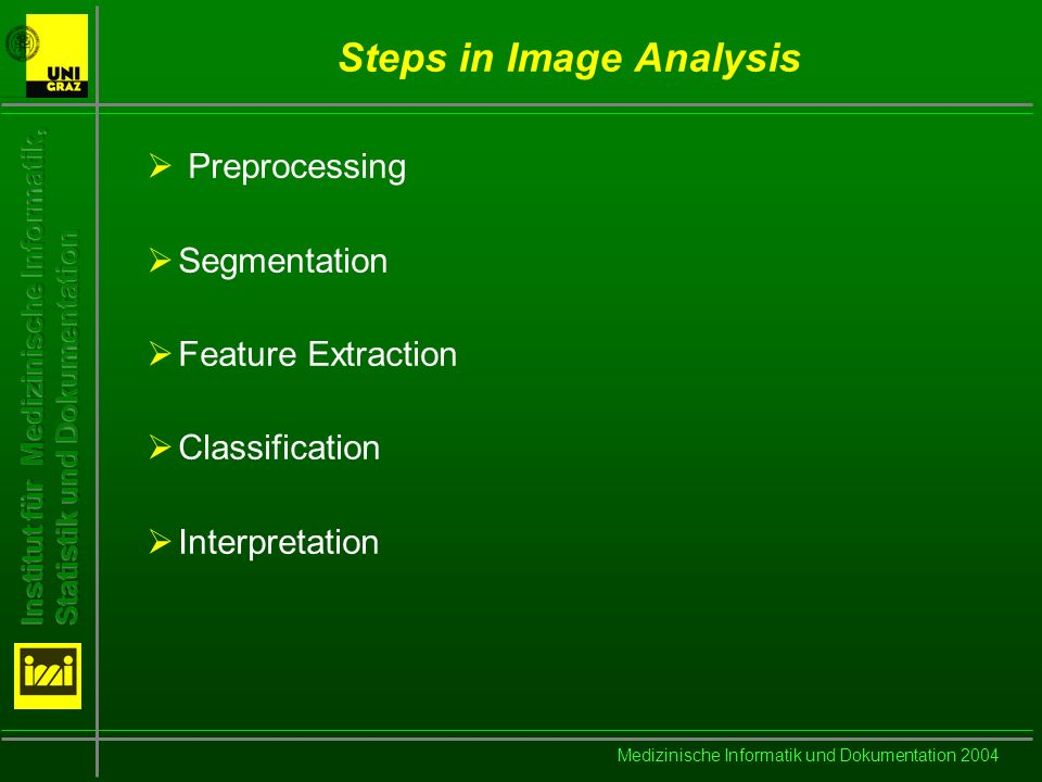Medizinische Informatik und Dokumentation 2004 Steps in Image Analysis Preprocessing Segmentation Feature Extraction Classification Interpretation