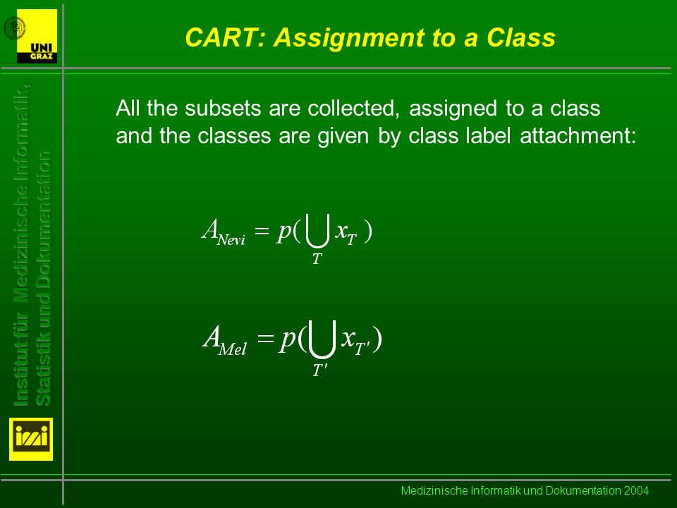 Medizinische Informatik und Dokumentation 2004 CART: Assignment to a Class All the subsets are collected, assigned to a class and the classes are given by class label attachment: