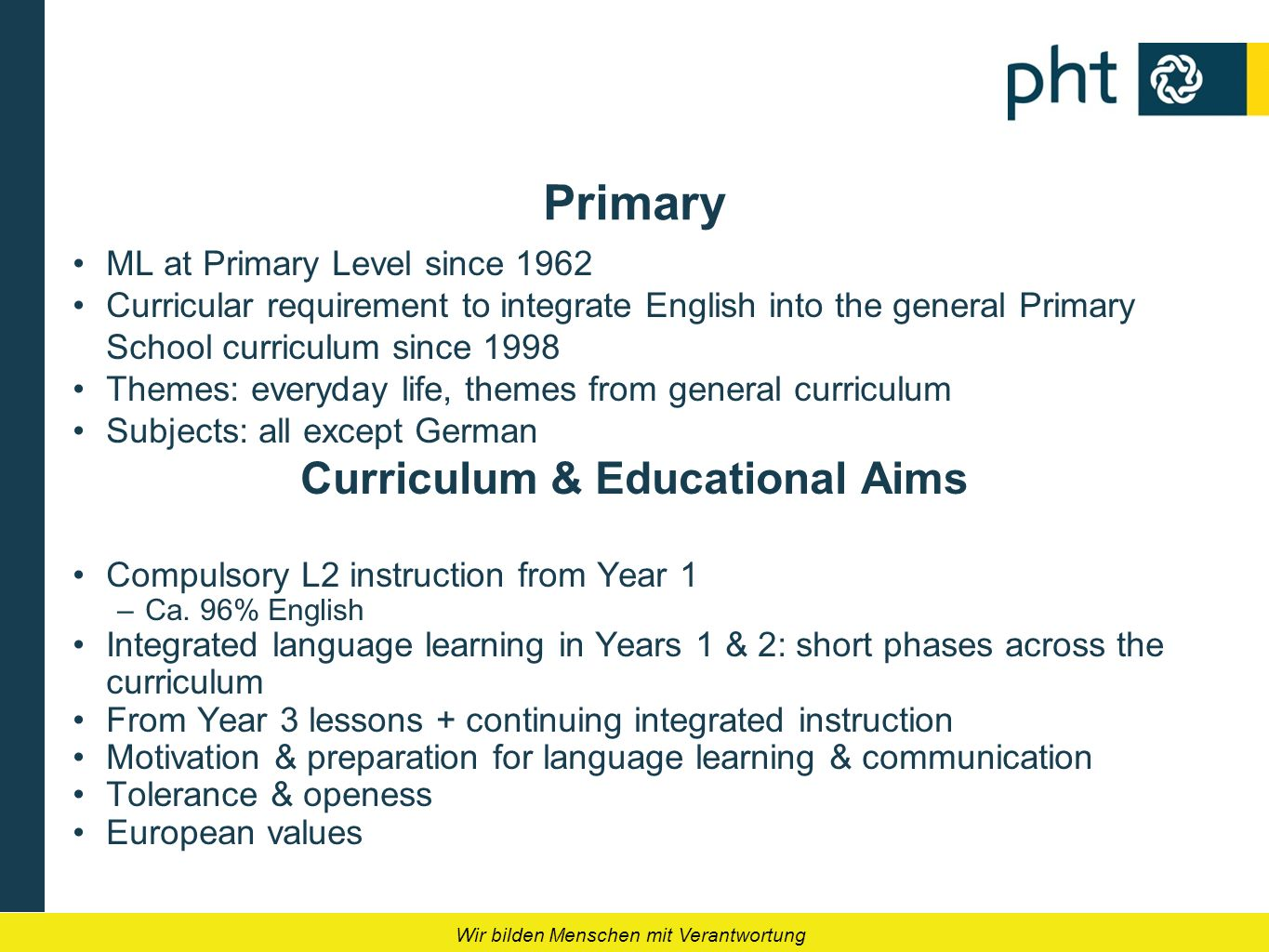 Wir bilden Menschen mit Verantwortung Primary ML at Primary Level since 1962 Curricular requirement to integrate English into the general Primary Scho