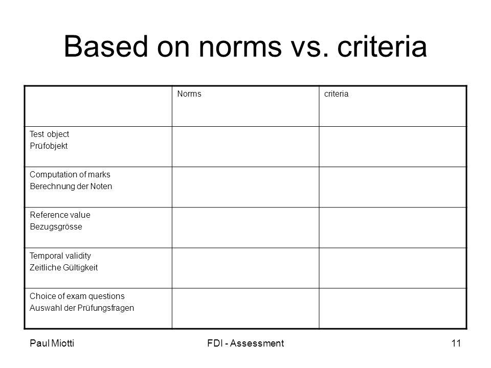 Paul MiottiFDI - Assessment11 Based on norms vs. criteria Normscriteria Test object Prüfobjekt Computation of marks Berechnung der Noten Reference val
