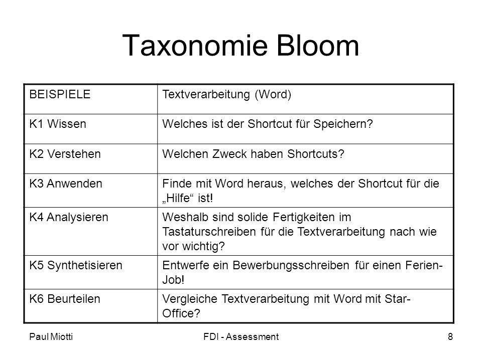 Paul MiottiFDI - Assessment8 Taxonomie Bloom BEISPIELETextverarbeitung (Word) K1 WissenWelches ist der Shortcut für Speichern.