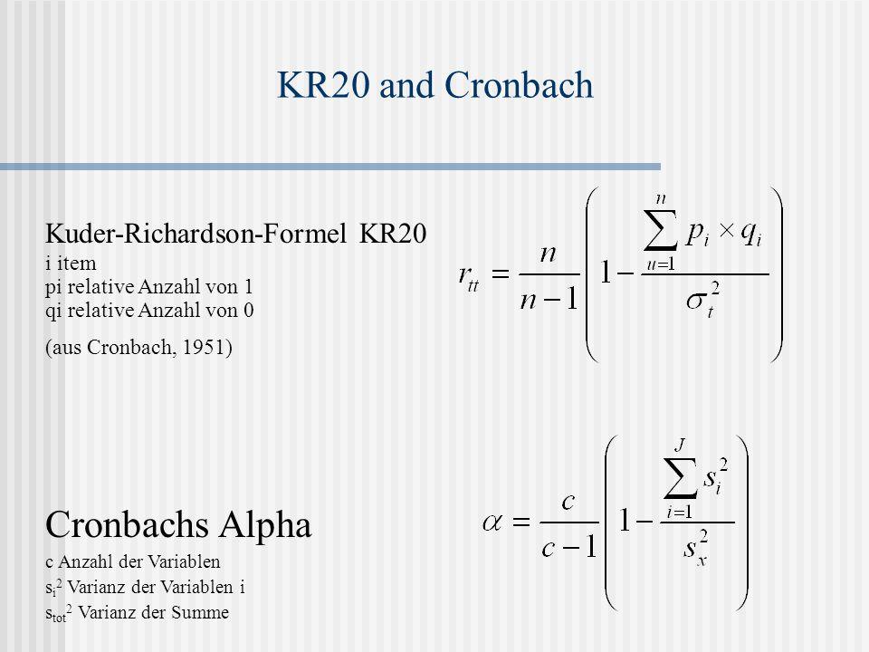 KR20 and Cronbach Kuder-Richardson-Formel KR20 i item pi relative Anzahl von 1 qi relative Anzahl von 0 (aus Cronbach, 1951) Cronbachs Alpha c Anzahl der Variablen s i 2 Varianz der Variablen i s tot 2 Varianz der Summe