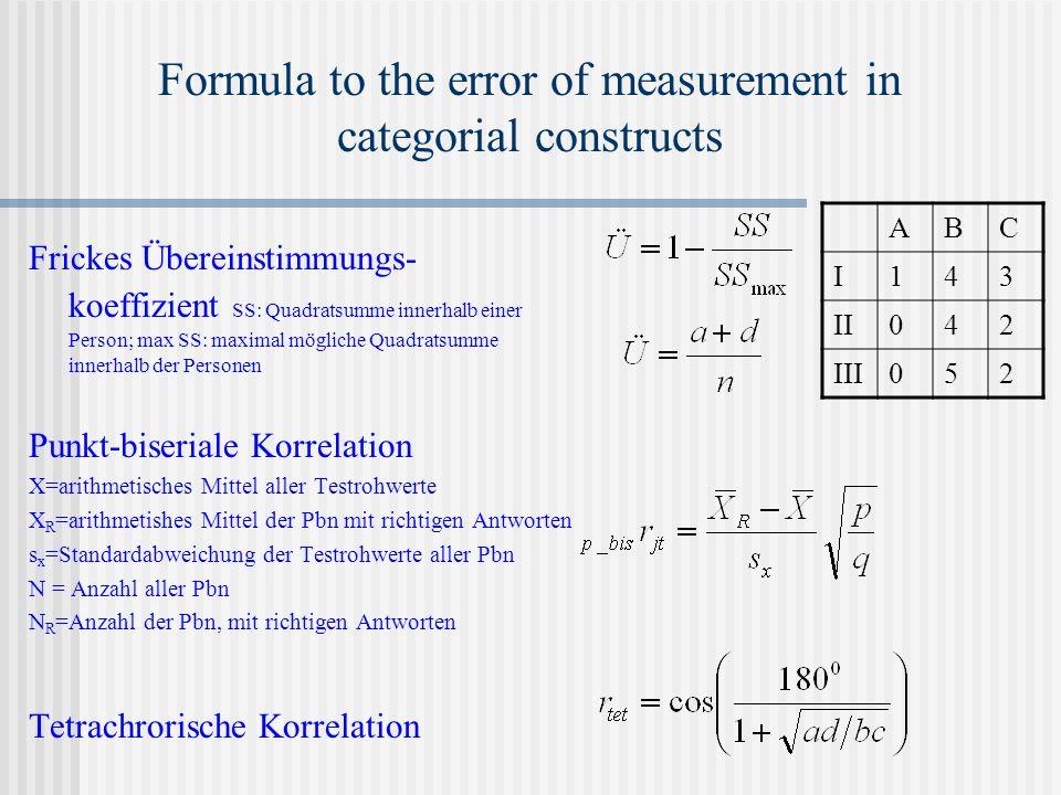 Formula to the error of measurement in categorial constructs Frickes Übereinstimmungs- koeffizient SS: Quadratsumme innerhalb einer Person; max SS: maximal mögliche Quadratsumme innerhalb der Personen Punkt-biseriale Korrelation X=arithmetisches Mittel aller Testrohwerte X R =arithmetishes Mittel der Pbn mit richtigen Antworten s x =Standardabweichung der Testrohwerte aller Pbn N = Anzahl aller Pbn N R =Anzahl der Pbn, mit richtigen Antworten Tetrachrorische Korrelation ABC I143 II042 III052