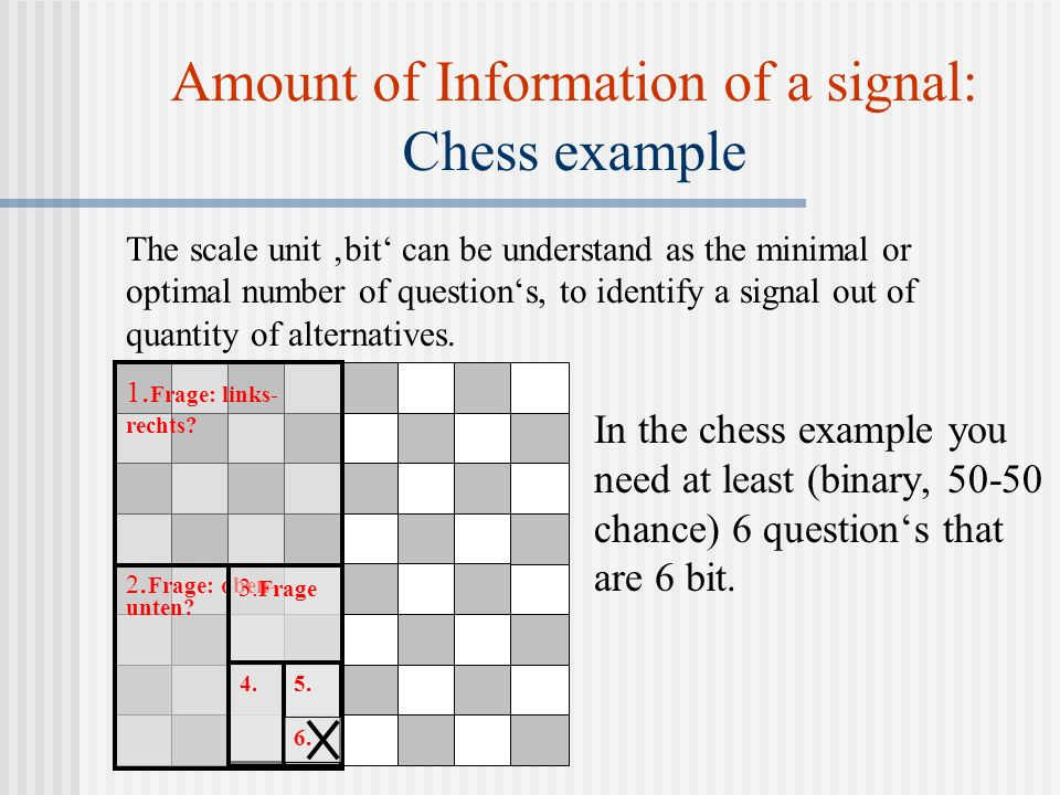 Amount of Information of a signal: Chess example In the chess example you need at least (binary, 50-50 chance) 6 questions that are 6 bit.
