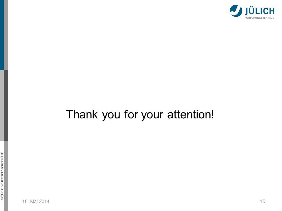 Mitglied in der Helmholtz-Gemeinschaft 18. Mai 201415 Thank you for your attention!