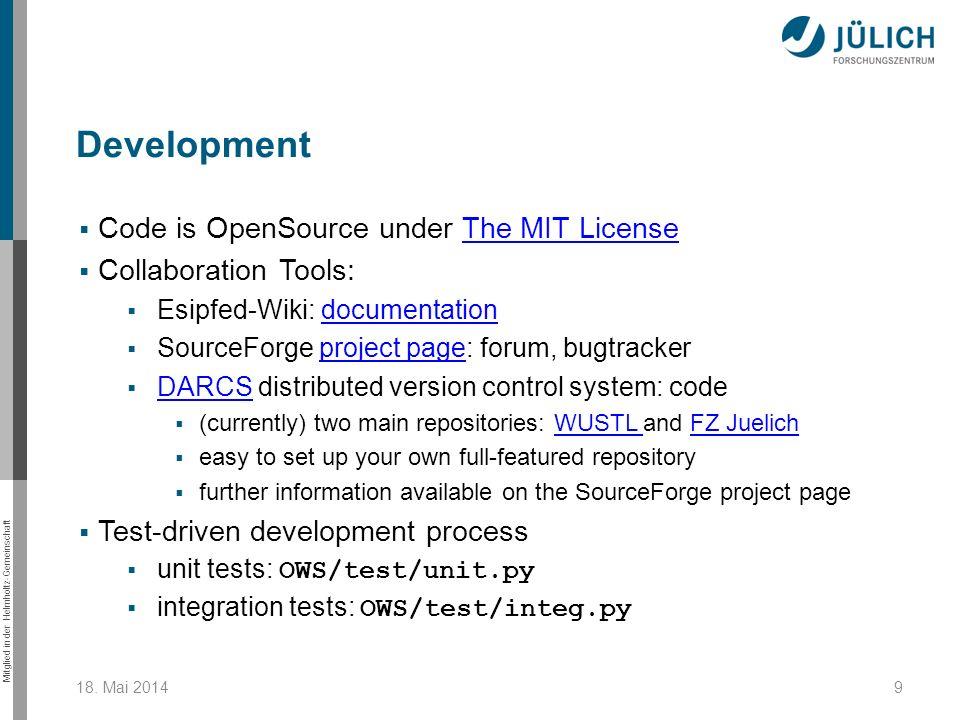 Mitglied in der Helmholtz-Gemeinschaft Code is OpenSource under The MIT LicenseThe MIT License Collaboration Tools: Esipfed-Wiki: documentationdocumen