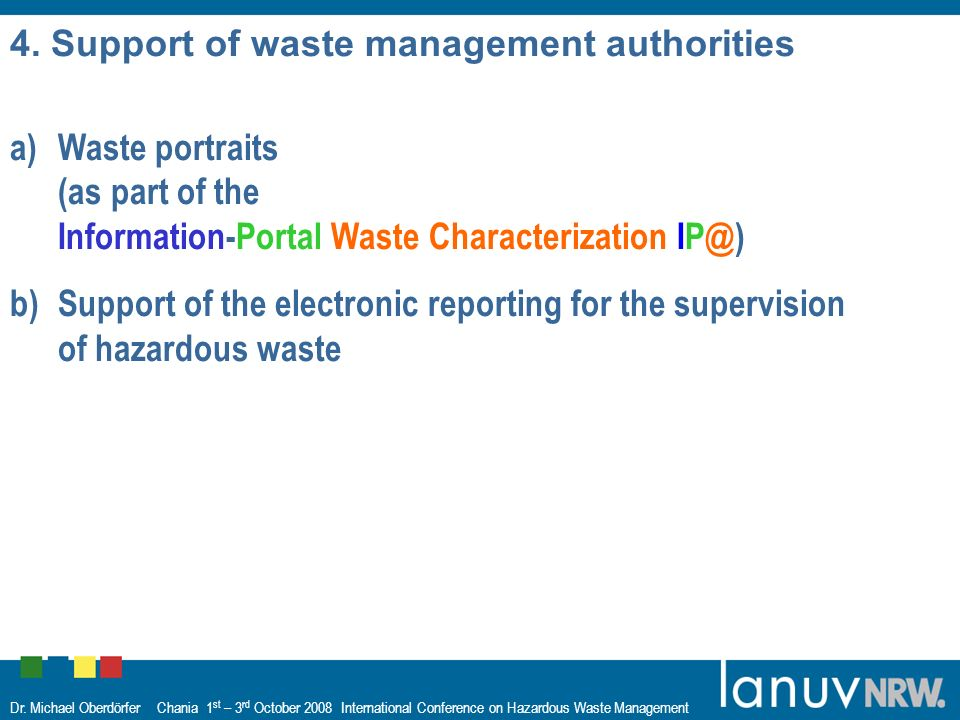 Dr. Michael Oberdörfer Chania 1 st – 3 rd October 2008 International Conference on Hazardous Waste Management 4. Support of waste management authoriti