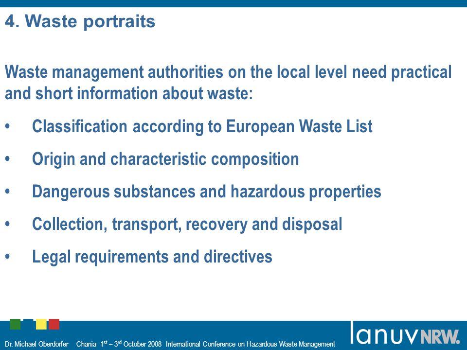 Dr. Michael Oberdörfer Chania 1 st – 3 rd October 2008 International Conference on Hazardous Waste Management 4. Waste portraits Waste management auth