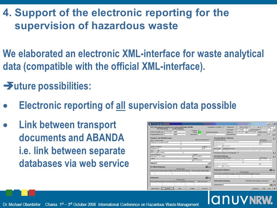 Dr. Michael Oberdörfer Chania 1 st – 3 rd October 2008 International Conference on Hazardous Waste Management 4. Support of the electronic reporting f