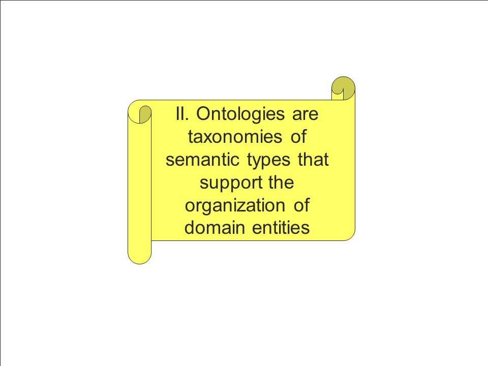 II. Ontologies are taxonomies of semantic types that support the organization of domain entities