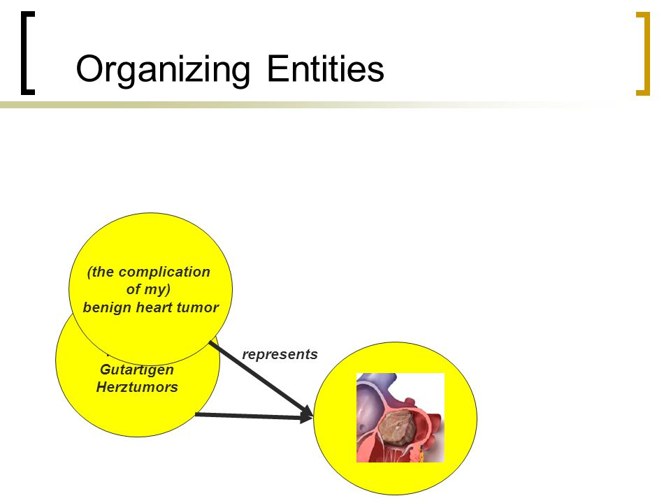 Organizing Entities represents (die Komplikation meines) Gutartigen Herztumors (the complication of my) benign heart tumor