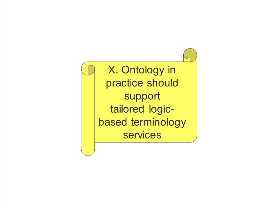 X. Ontology in practice should support tailored logic- based terminology services