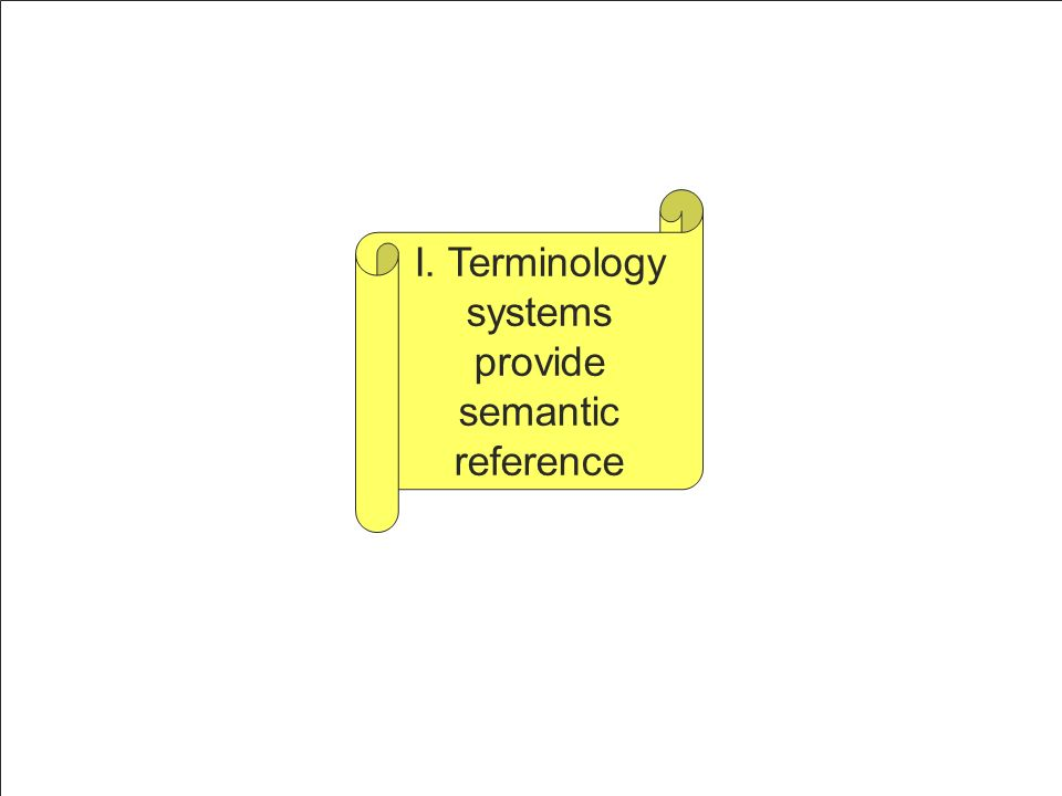 I. Terminology systems provide semantic reference