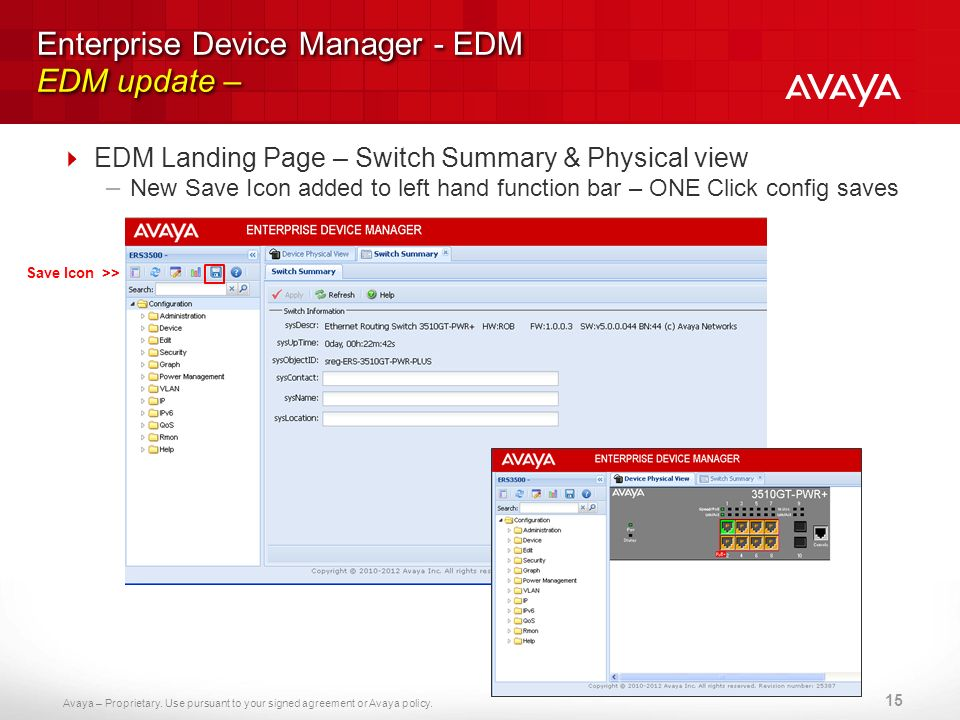 Avaya – Proprietary. Use pursuant to your signed agreement or Avaya policy. Enterprise Device Manager - EDM EDM update – EDM Landing Page – Switch Sum