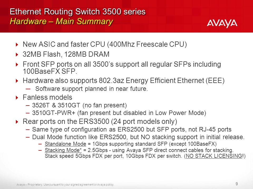 Avaya – Proprietary. Use pursuant to your signed agreement or Avaya policy. Ethernet Routing Switch 3500 series Hardware – Main Summary New ASIC and f