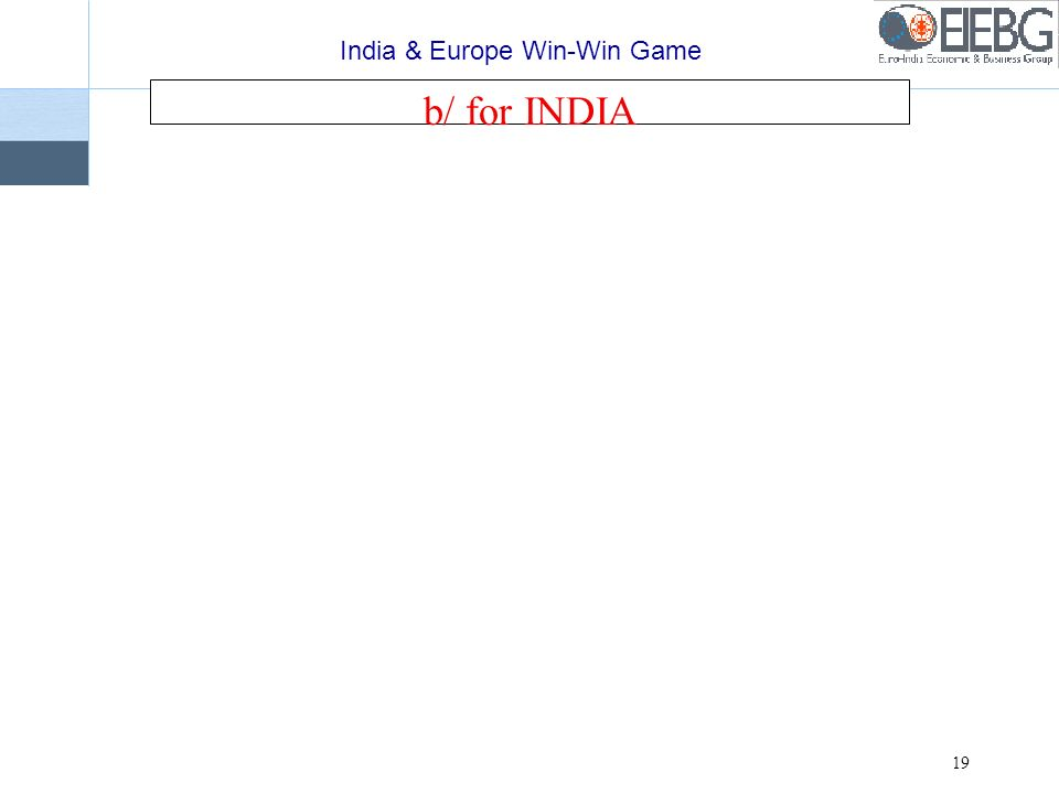 India & Europe Win-Win Game 19 b/ for INDIA