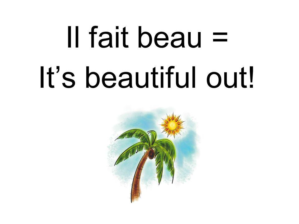Il fait beau = Its beautiful out!