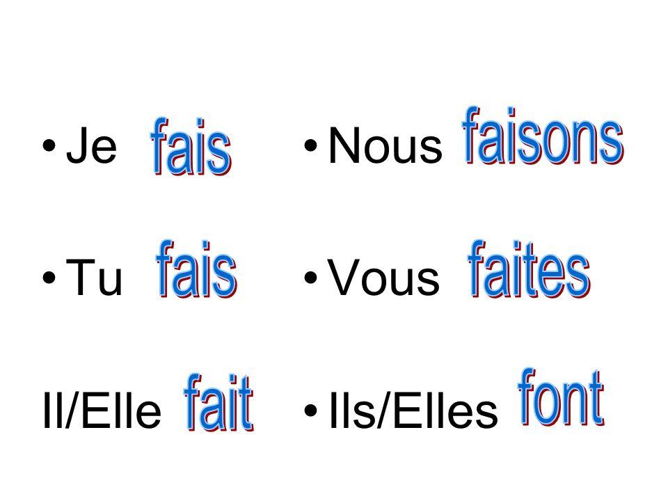 Je Tu Il/Elle Nous Vous Ils/Elles