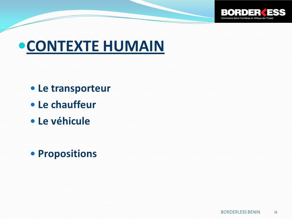 CONTEXTE HUMAIN Le transporteur Le chauffeur Le véhicule Propositions BORDERLESS BENIN 11